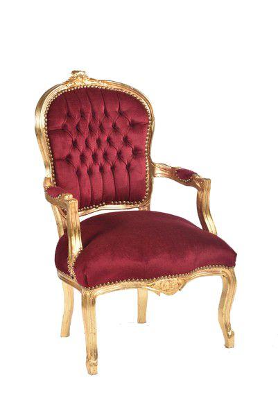 Poltrona barocco Luigi XVI Oro Rosso 63 x 65 x 94 cm