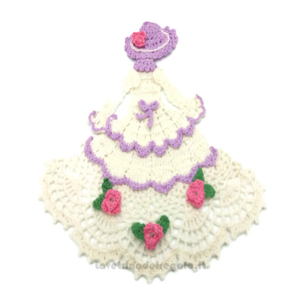 Centrino damina bianco e lilla ad uncinetto 21x20 cm Handmade - Italy
