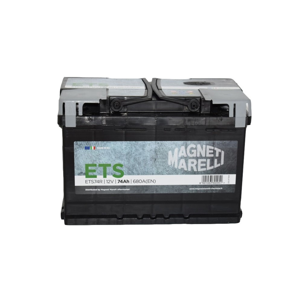 BATTERIA MAGNETI MARELLI ETS74R 74AH 680EN 680A 12V POSITIVO A DX