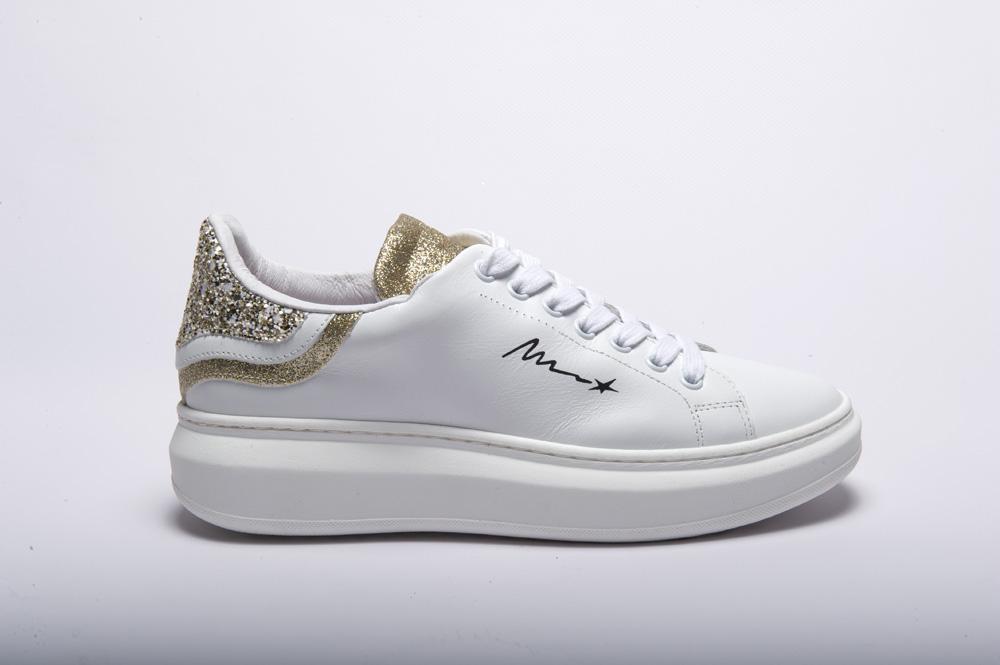 Meline @go - Sneakers pelle bianca glitter oro gomma alta