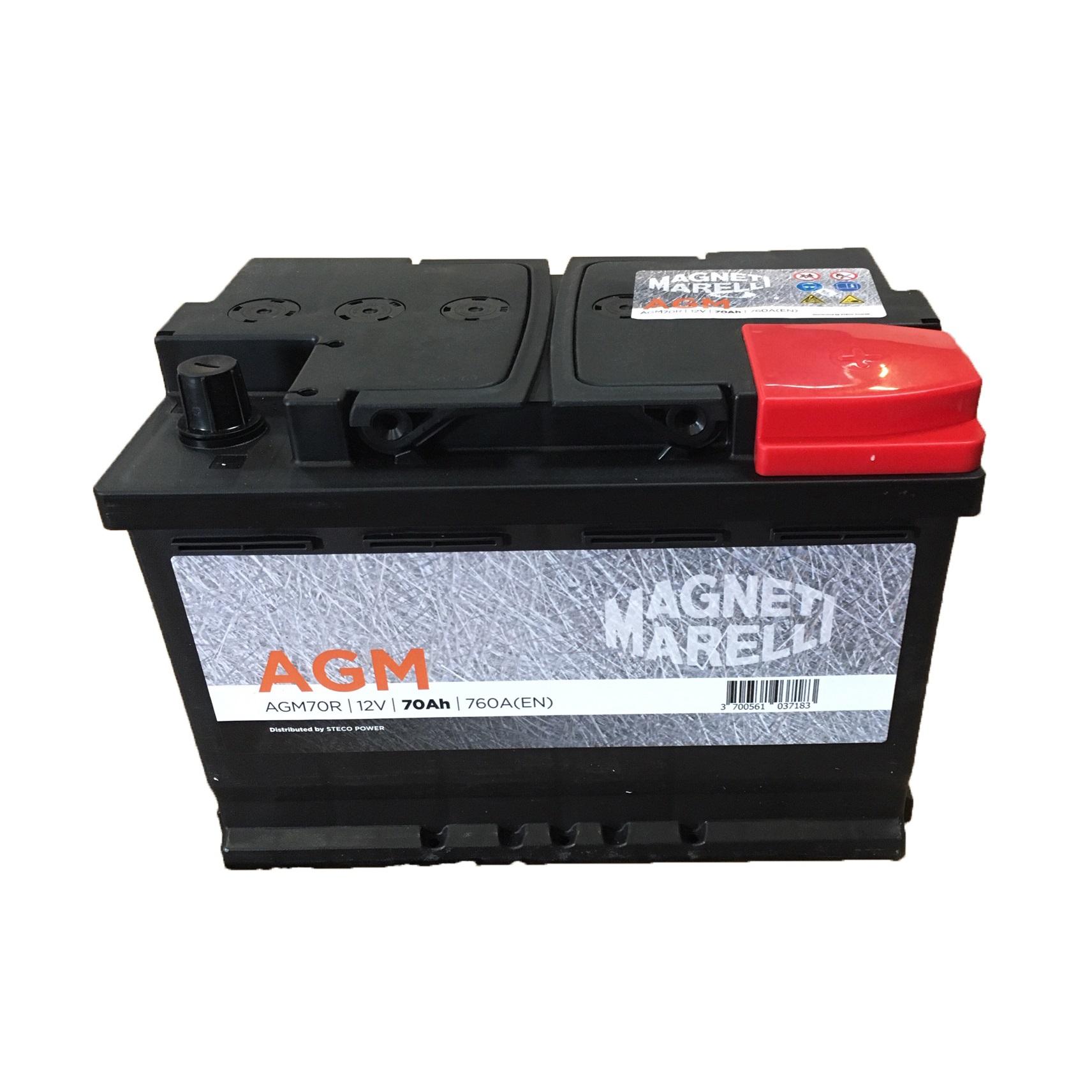 BATTERIA MAGNETI MARELLI AGM70R 70AH 760EN 760A POSITIVO A DX