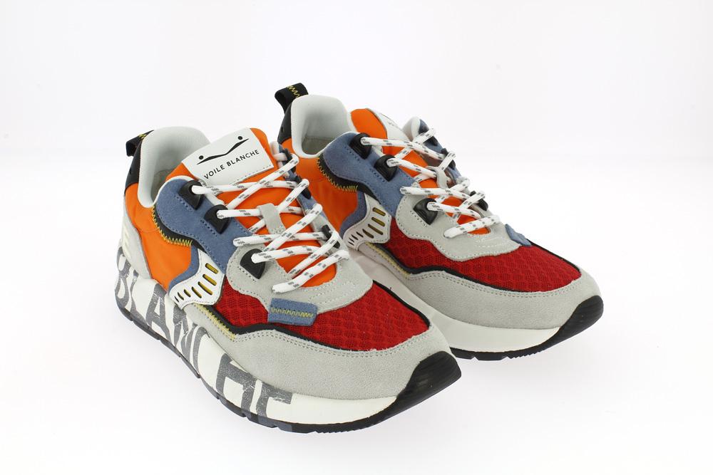 Voile blanche Velour\rete\nylon - Sneakers bianco rosso arancio e celeste con scritte alla suola