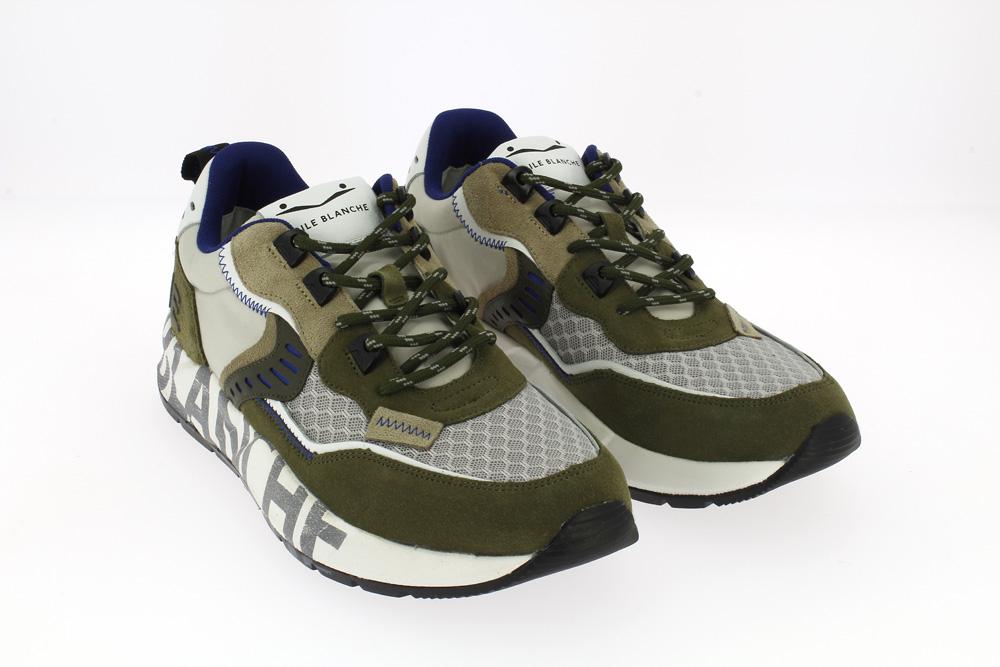 Voile Blanche Velour\rete\nylon - Sneakers verde bosco grigio e beige profili blu con scritte alla suola