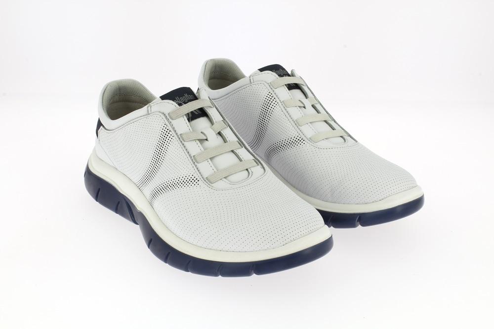 Callaghan - Dragon fruit  Calzatura sneakers sportiva in pelle bianca traforata plantare e suola blu memory