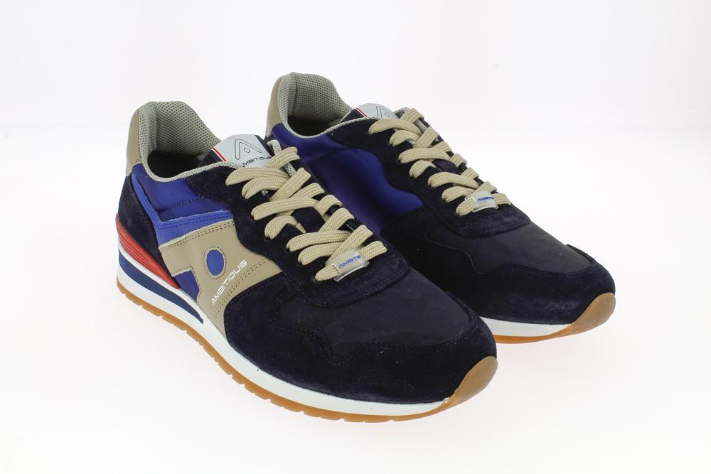 Ambitious - Sneakers sportiva tempo liberocamoscio,nylon e pelle blu,beige,azzurra e rossa