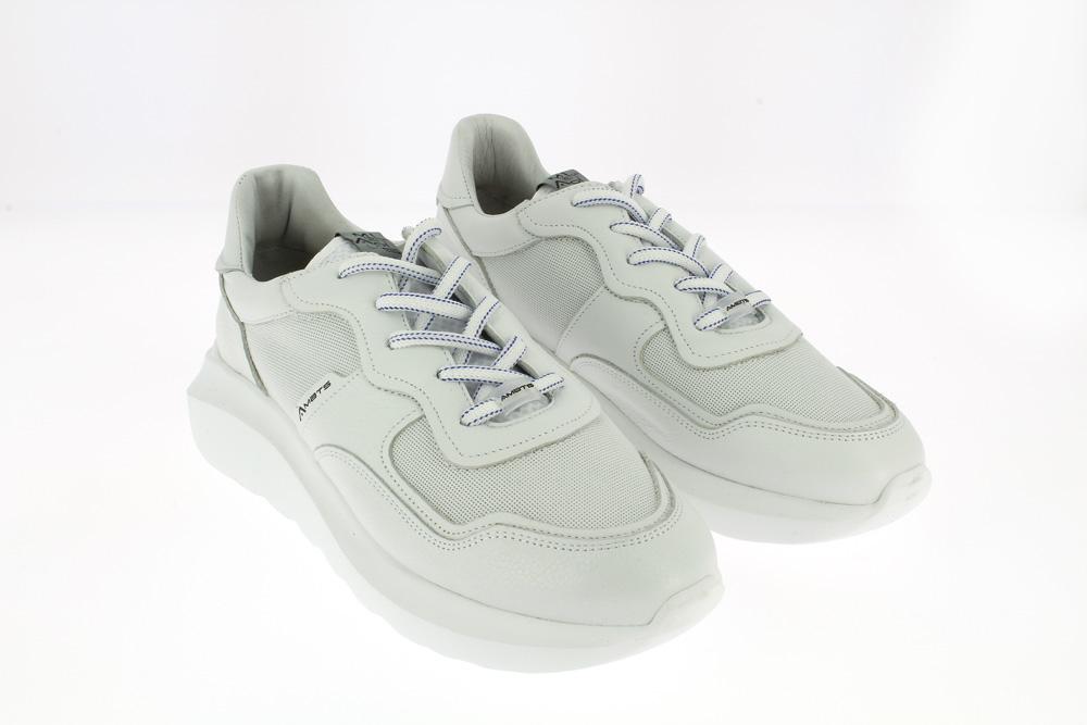 Ambitious - Sneakers sportiva tempo libero in  pelle bianca laccio righina blu gomma alta