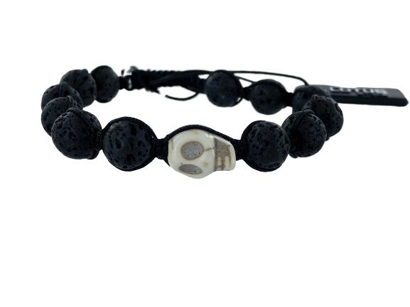 BRACCIALE LOTUS SFERE IN RESINA MARRONE E UN TESCHIO BIANCO CON VENATURE