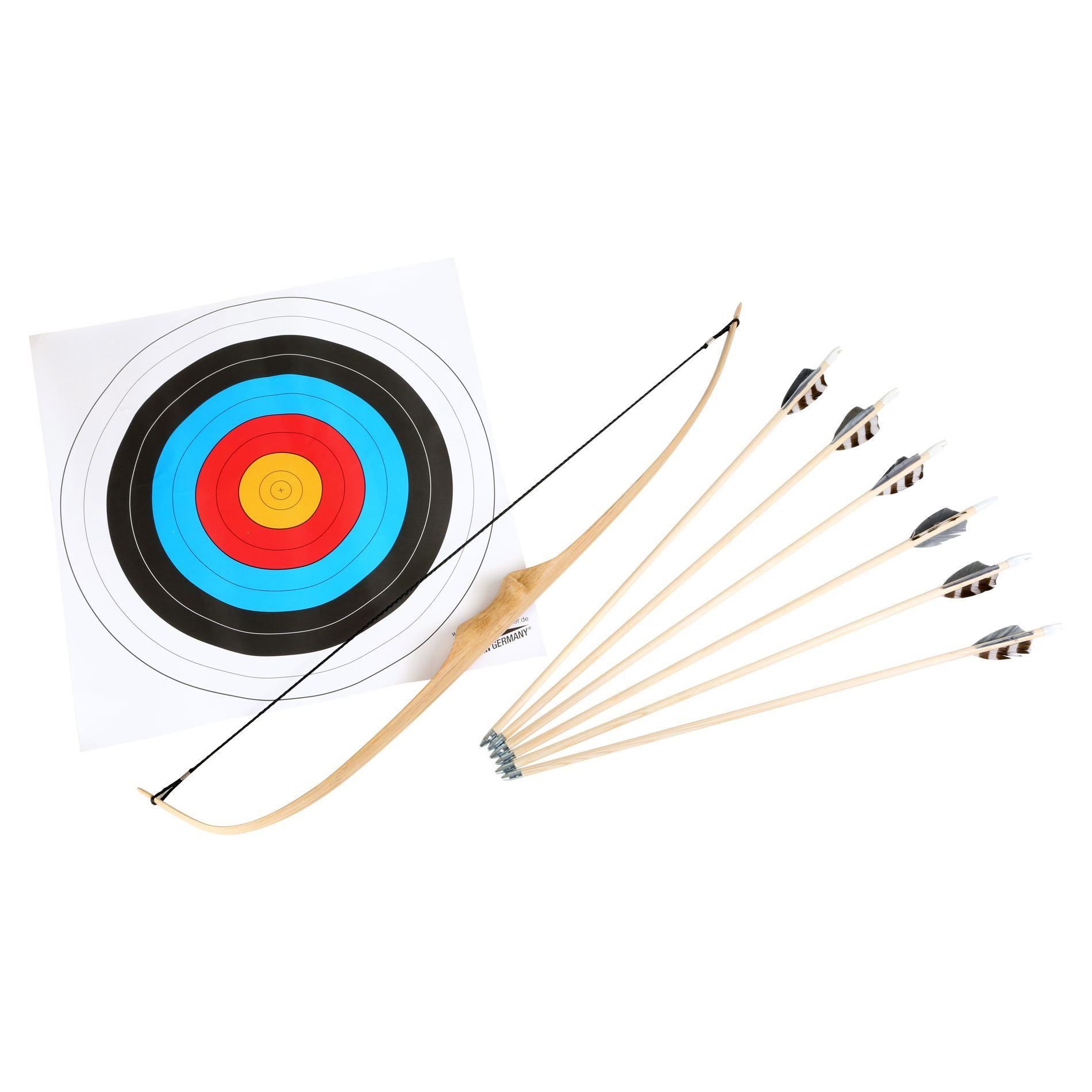 Set amatoriale Tiro con l'arco in legno e metallo con frecce e bersaglio