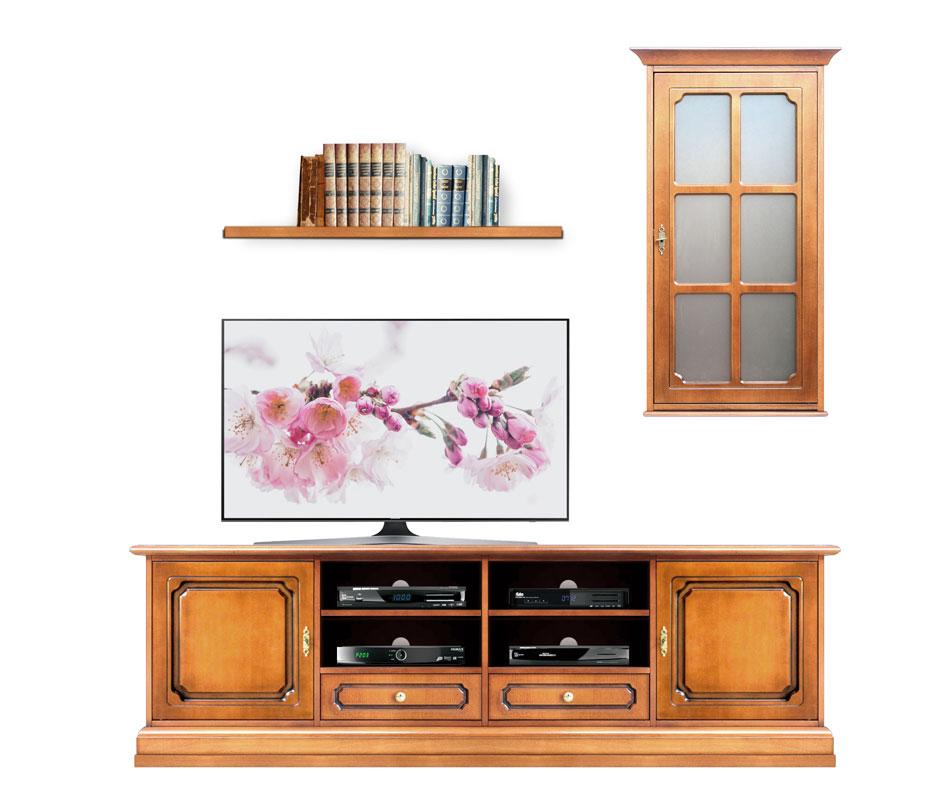 Mueble de pared para tv con vitrinas de pared estilo clasico