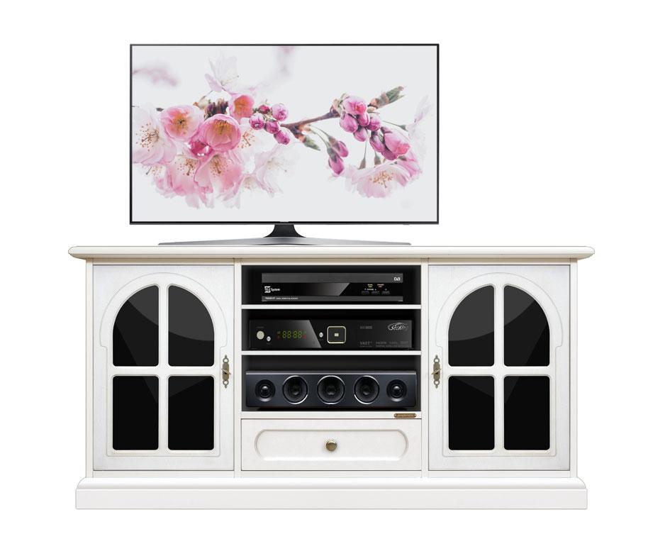 Mueble tv vitrinas negras en madera