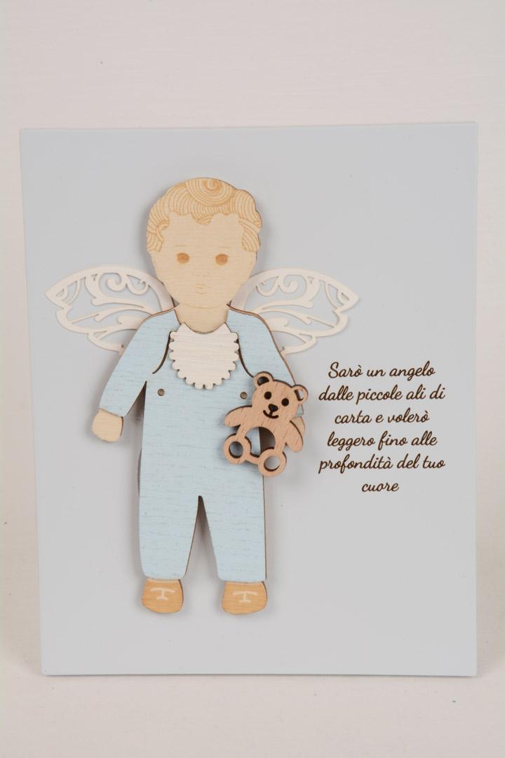 Quadretto Regalo Battesimo Angelo Baby cm 15x12 Legno Laccato