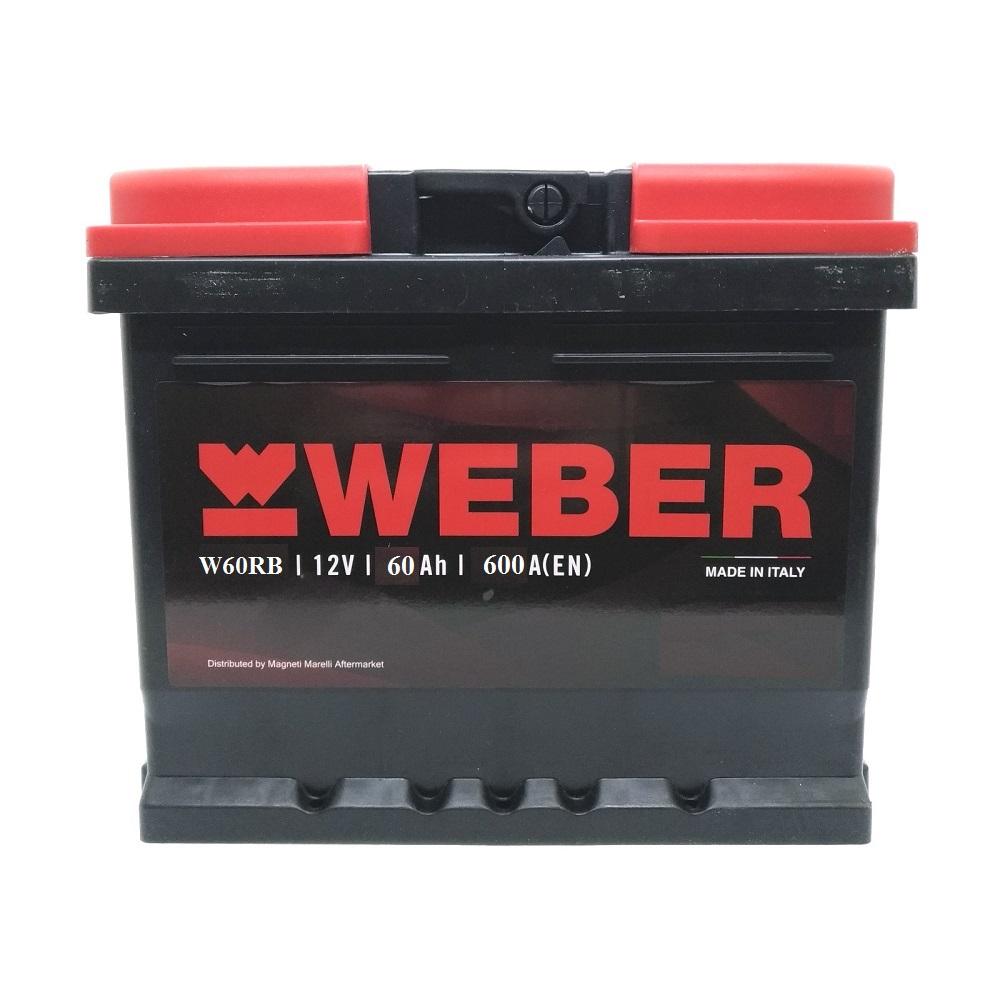 W60RB BATTERIA WEBER (MAGNETI MARELLI) 60 AH 600A 242x175x190 mm