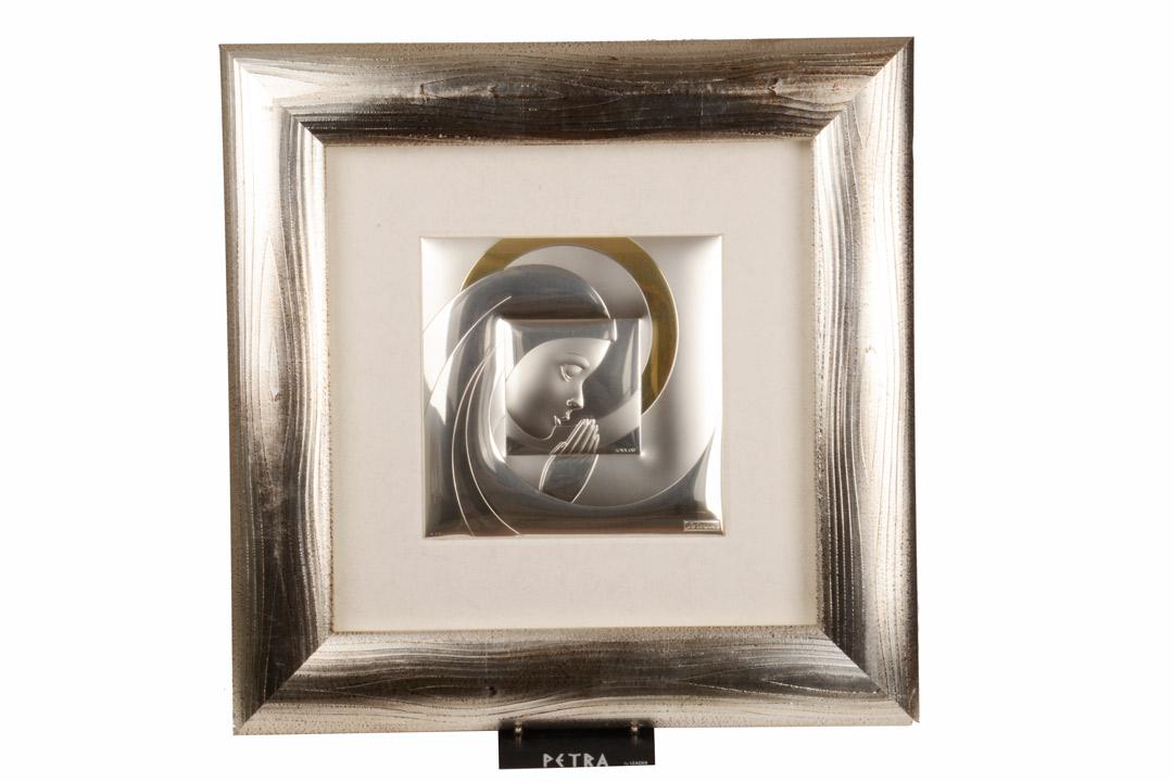 Quadro Madonna Placca in Argento Cornice Legno Argentato 57x57 cm