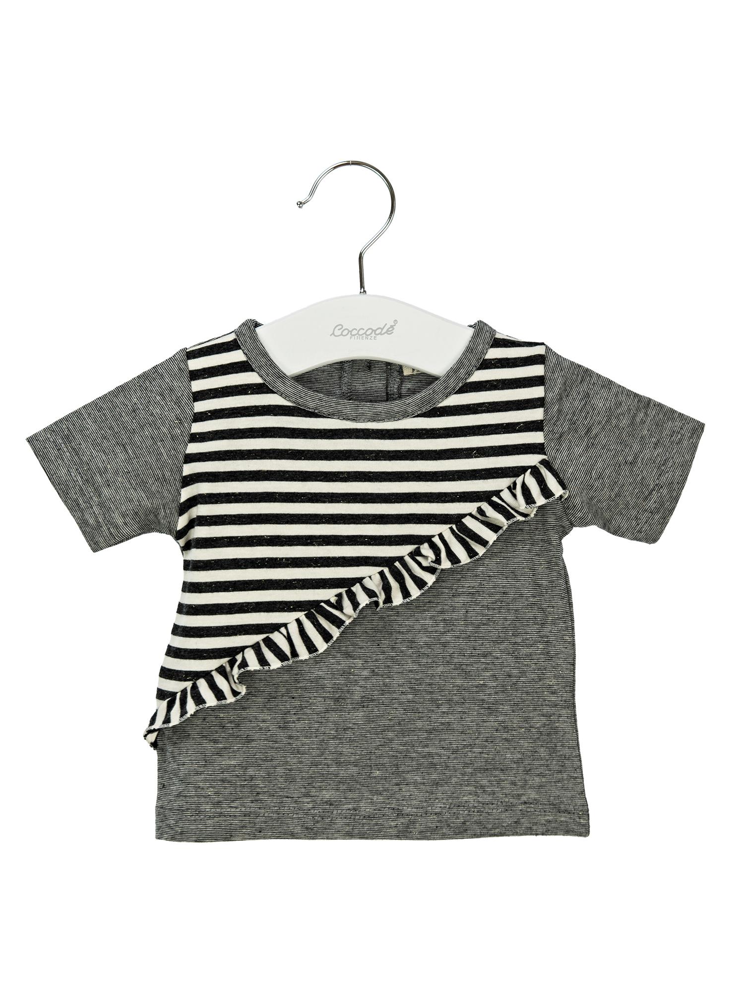 T-shirt rigata con rouches 3-36 mesi Coccodè