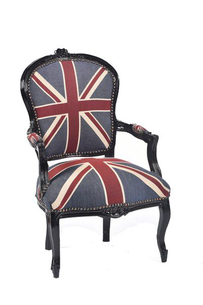 Poltrona barocco nera bandiera inglese