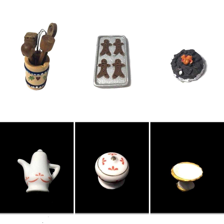 Set accessori per la cucina in miniatura per la casa delle bambole