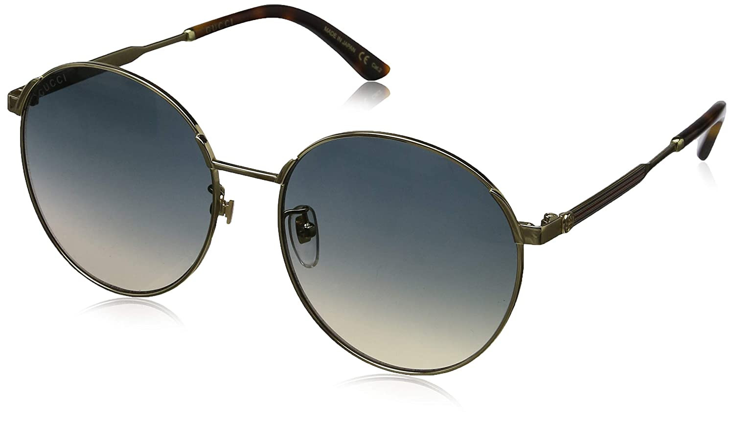 Gucci - Occhiale da Sole Unisex, Havana Gold/Blue Shaded  GG0206SK  005  C58