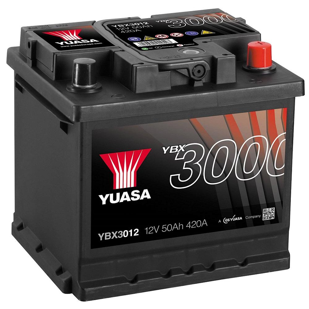 BATTERIA YUASA YBX3012 12v 50Ah 420A 420EN POSITIVO A DX