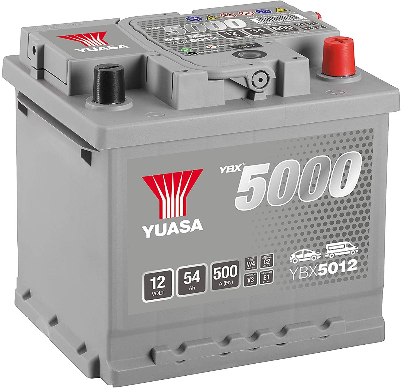 BATTERIA YUASA 12V 54Ah 500A - YBX5012 POSITIVO A DX