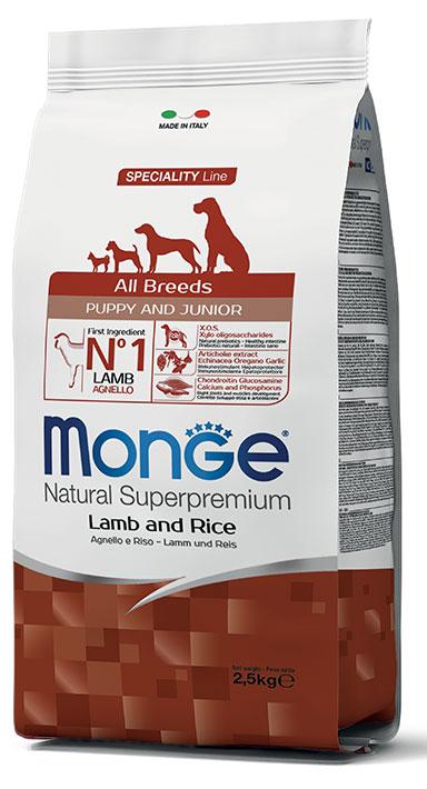 MONGE All Breeds Puppy & Junior Agnello e Riso 2,5 KG