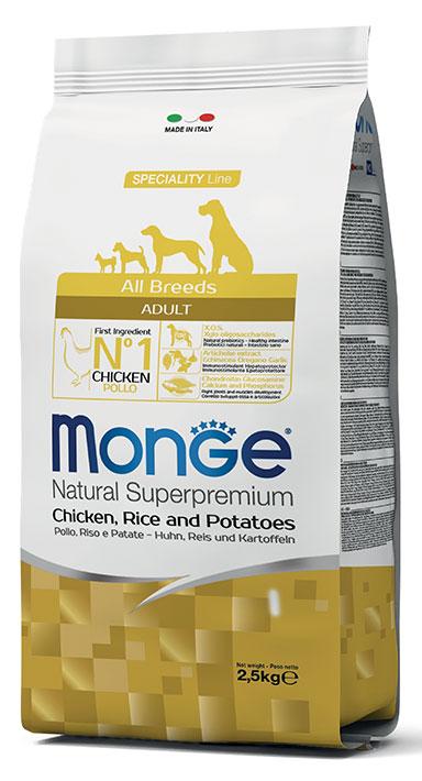 MONGE All Breeds Adult Pollo, Riso e Patate 2,5KG
