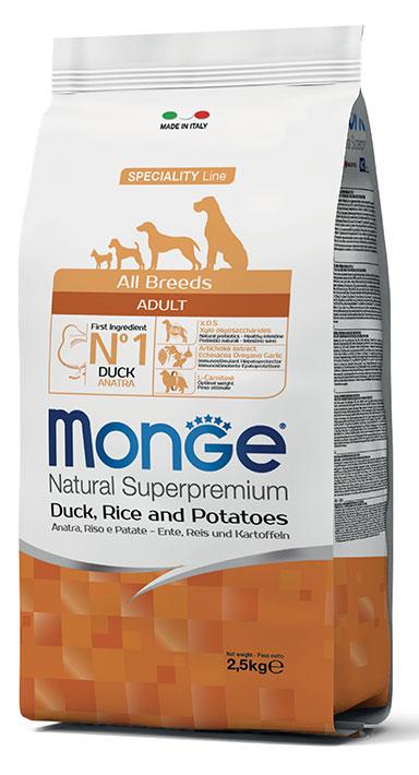MONGE All Breeds Adult Anatra, Riso e Patate 2,5 KG