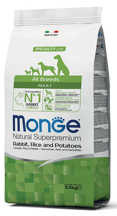 MONGE All Breeds Adult Coniglio, Riso e Patate 2,5KG