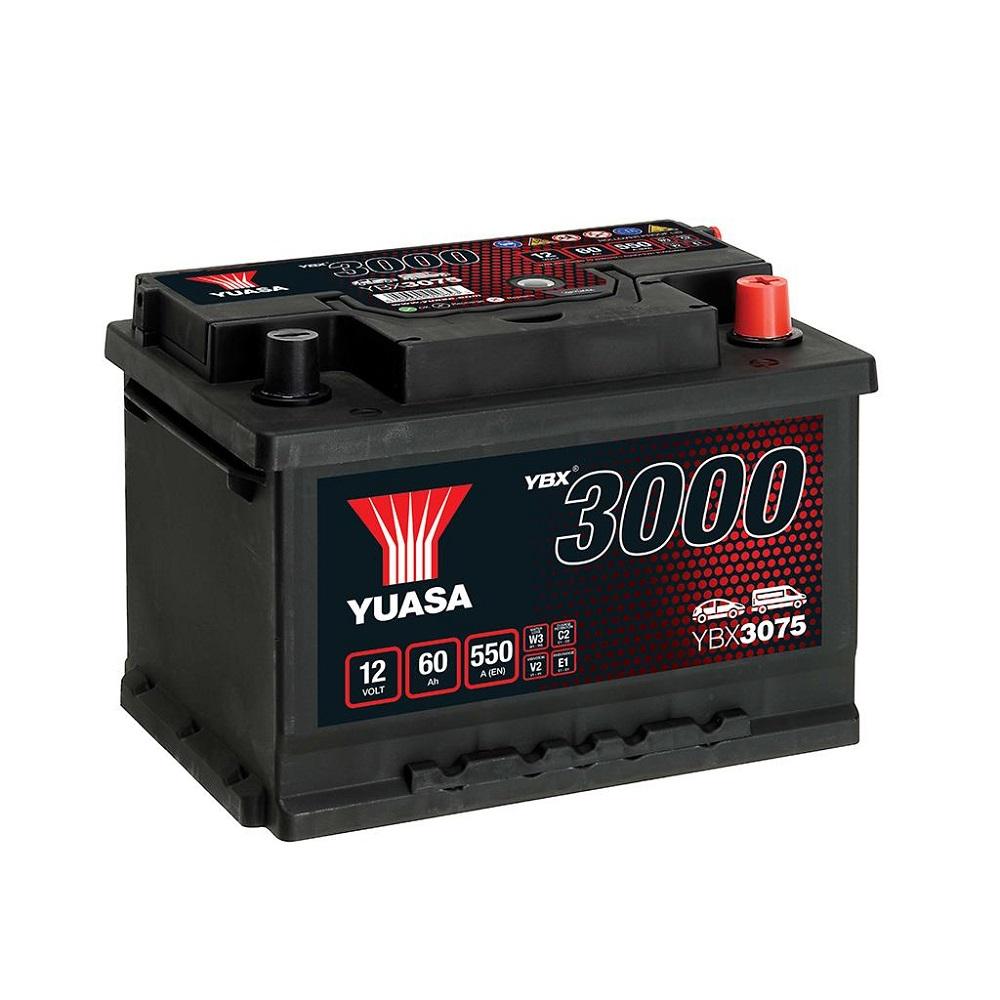 BATTERIA YUASA YBX3075 60Ah 550A POSITIVO A DX