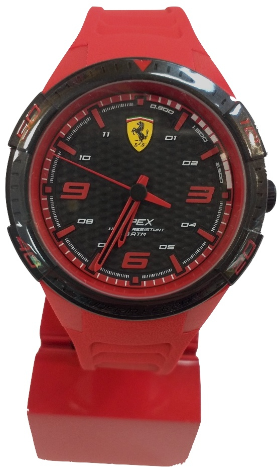 Ferrari Apex Quartz Watch With Silicon Strap Red Black