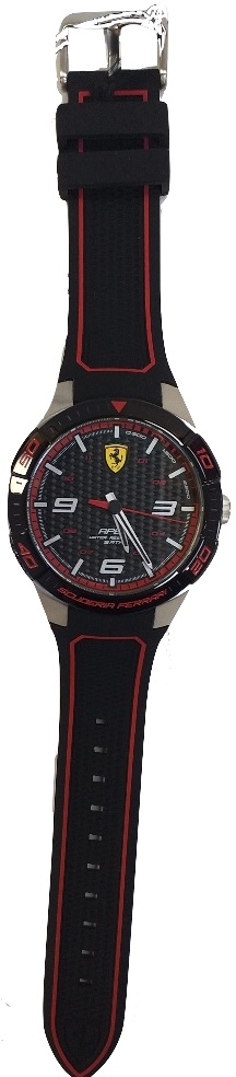 Ferrari Watch 45.50 Mm Stainless Steel Silicon Strap Black Red