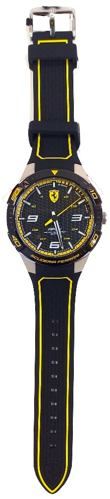 Ferrari Watch 45.50 Mm Stainless Steel Silicon Strap Black Yellow