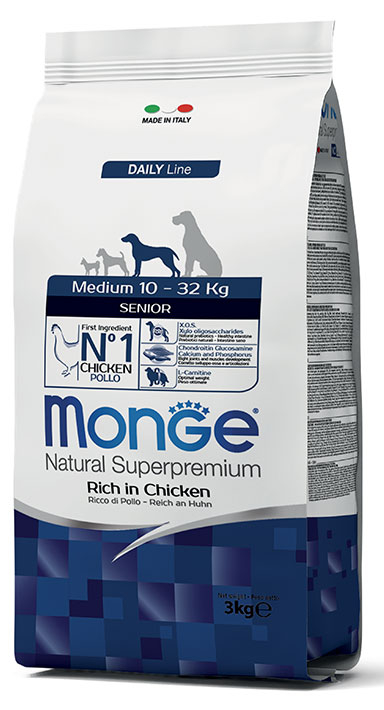 MONGE Medium Senior Ricco di Pollo 12KG