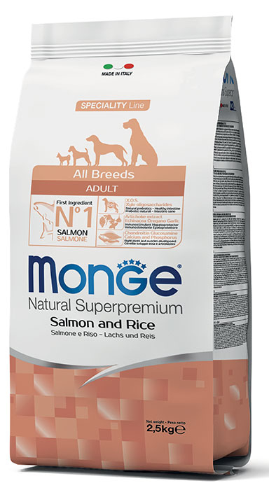 MONGE All Breeds Adult Salmone e Riso 12KG