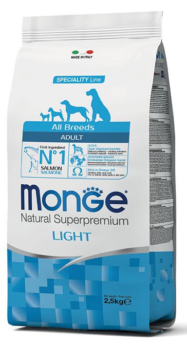 MONGE All Breeds Adult Light Salmone e Riso 12KG