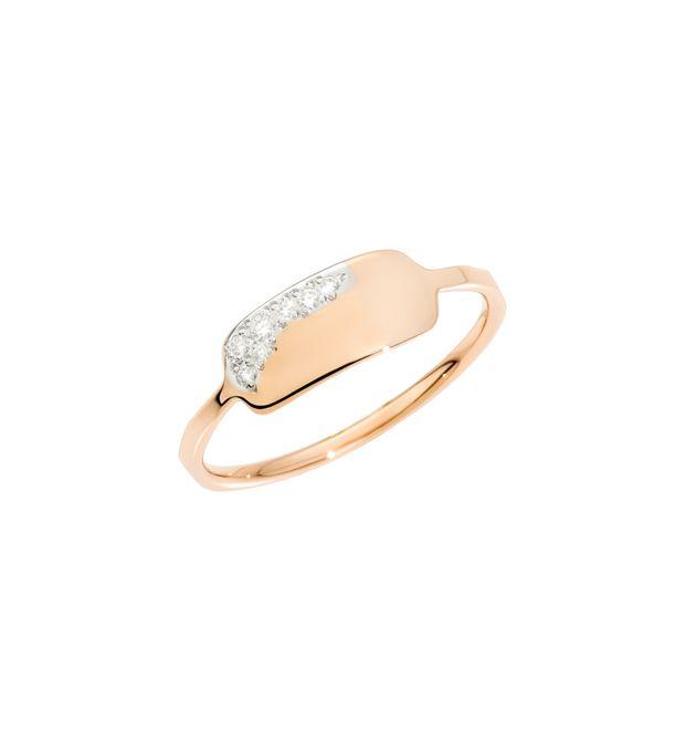 ANELLO PRECIOUS TAG Oro rosa 9kt, Diamanti