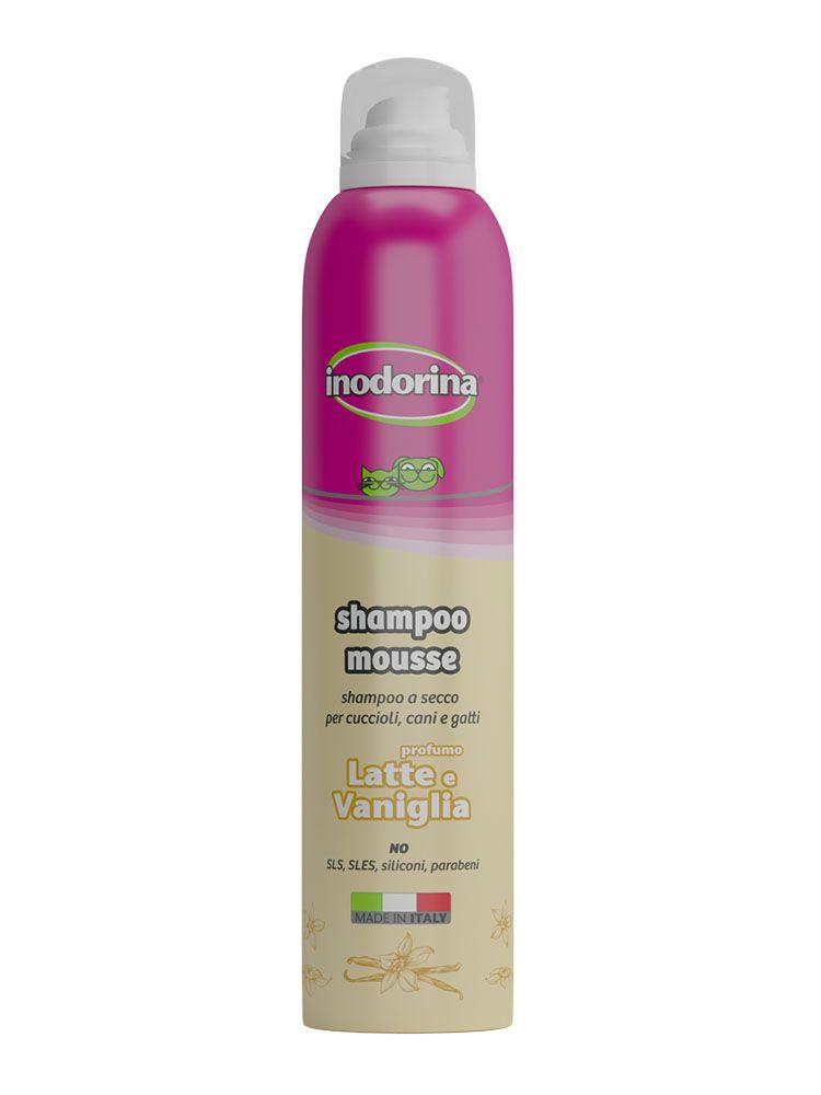 Inodorina Shampoo Mousse - A Secco 300 ml - Profumazione Latte e Vaniglia