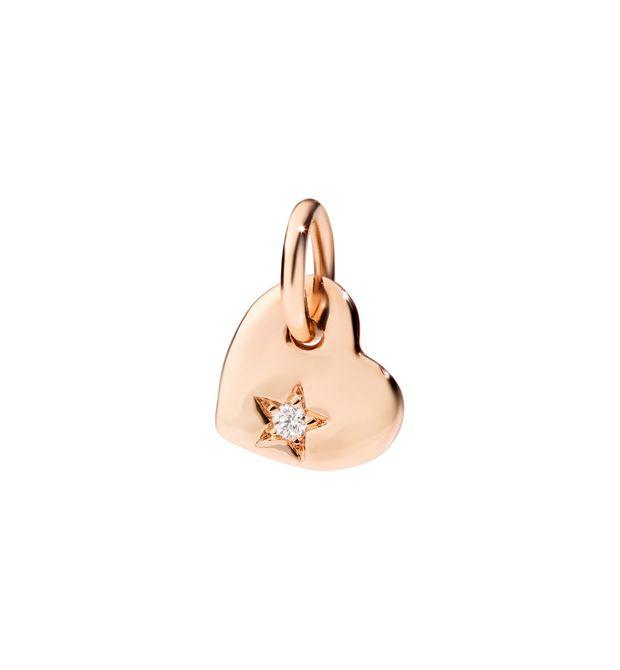 Ciondolo Cuore Piccolo in Oro Rosa 9Ct Con Diamante Bianco
