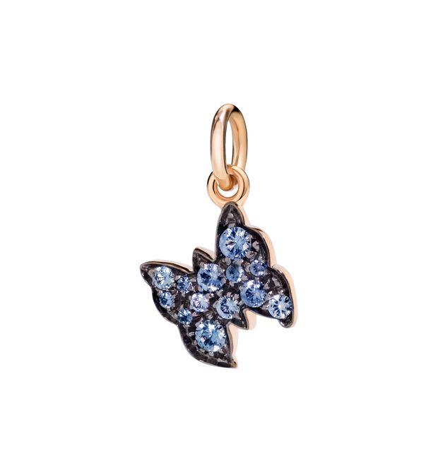 Ciondolo Farfalla Oro Rosa 9Ct con Zaffiri Azzurri