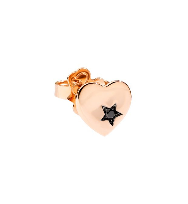 ORECCHINO CUORE ORECCHINO SINGOLO Oro rosa 9kt, Diamanti black trattati