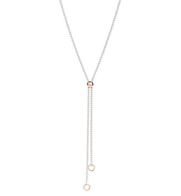 COLLANA BOLLICINE Oro rosa 9kt, Argento