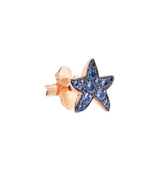 Orecchino Stella Marina Oro Rosa con Zaffiri Azzurri a Lobo - Mezzo Paio