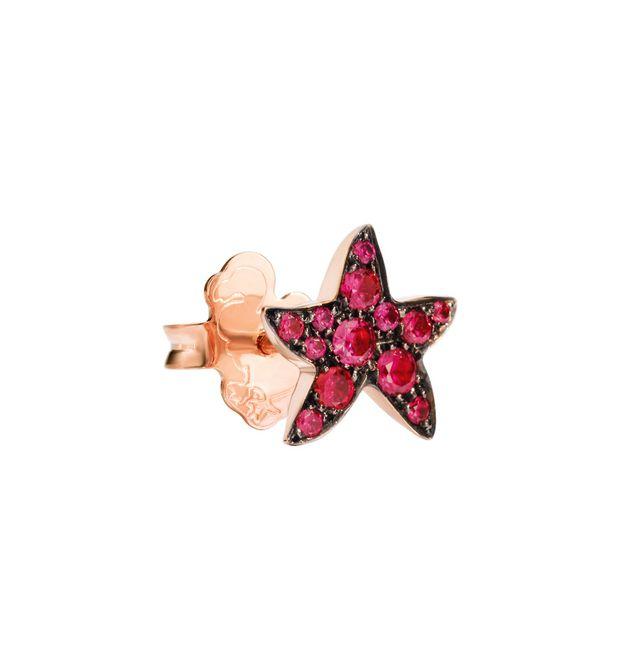Orecchino Stella Marina Oro Rosa con Rubini A Lobo - Mezzo Paio