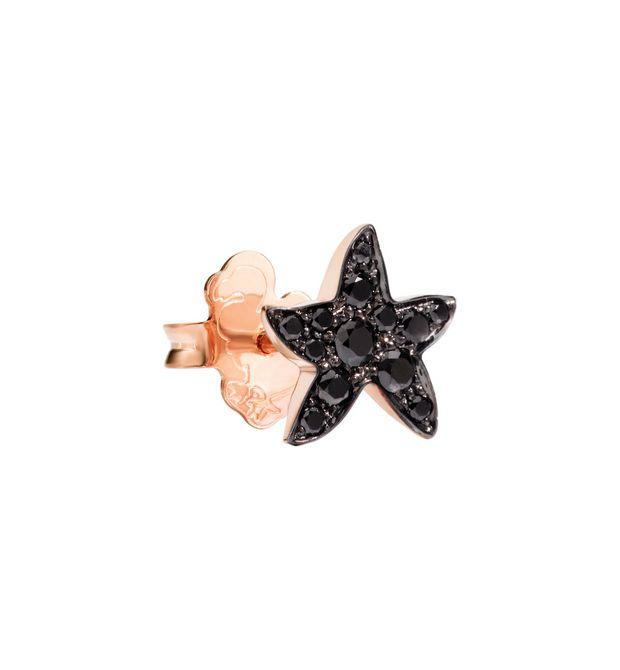 Orecchino Stella Marina Oro Rosa con Diamanti Black a Lobo - Mezzo Paio
