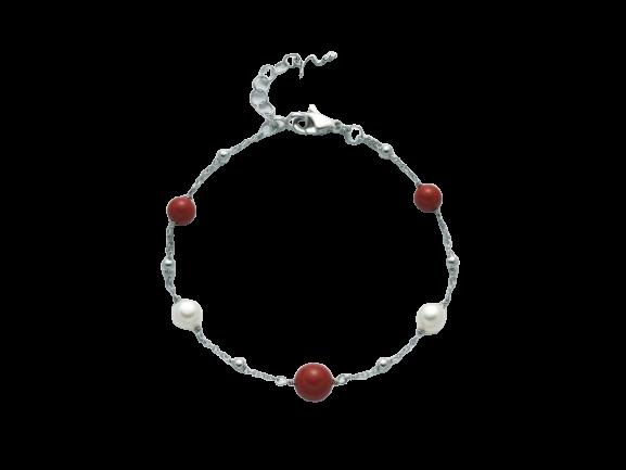 Bracciale Miluna Terra e Mare Corallo Rosso e Perle