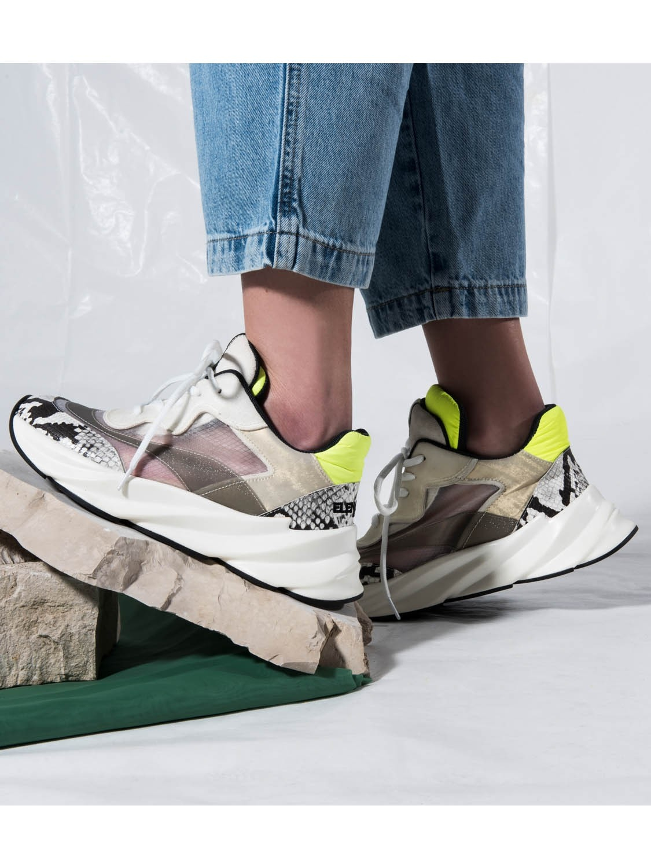Sneakers pelle e tessuto tecnico Elena Iachi