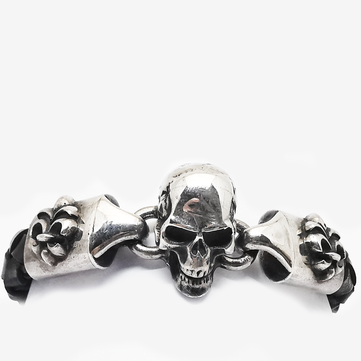 Leather Bracelet Skull Lock plus