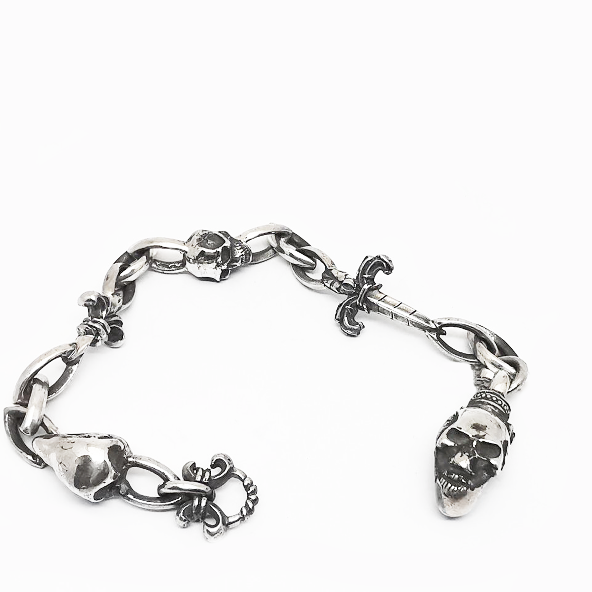 Silver Bracelet Skull Lock