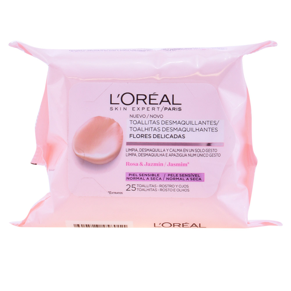 Loreal Delicate Flowers Make Up Remover Wipes Pelle Sensibile 25 Unitá