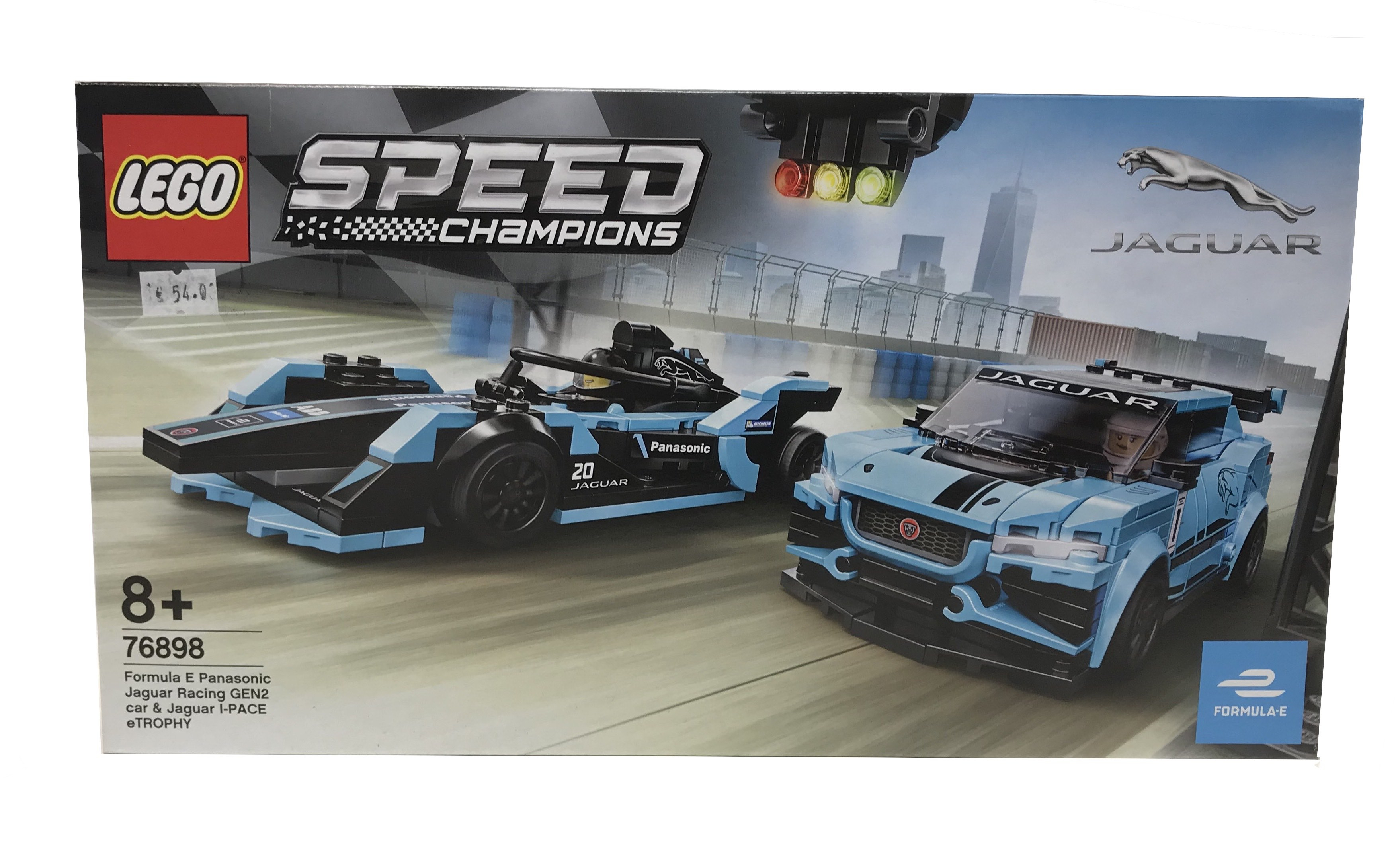 Lego Formula E Panasonic Jaguar  Racing Gen 2 car & Jaguar I-PAce and Trophy