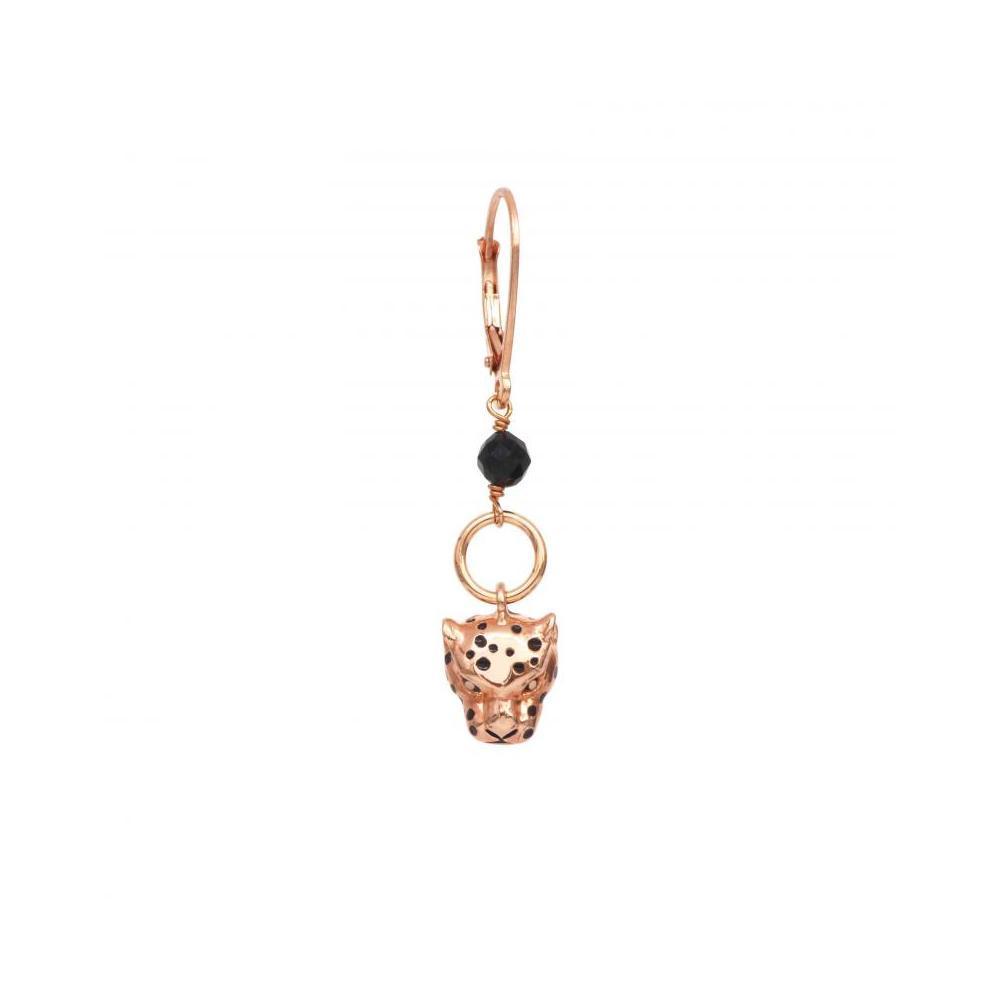Mono Orecchino a Monachella con Leopardo Oro Rosa e Spinello